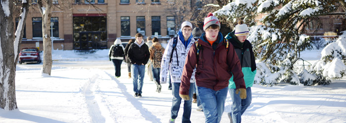 Students at NDSU in winter