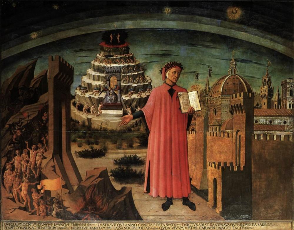 IMAGE COURTESY | THE GUARDIAN Domenico di Michelino's famous depiction of Dante Alighieri.