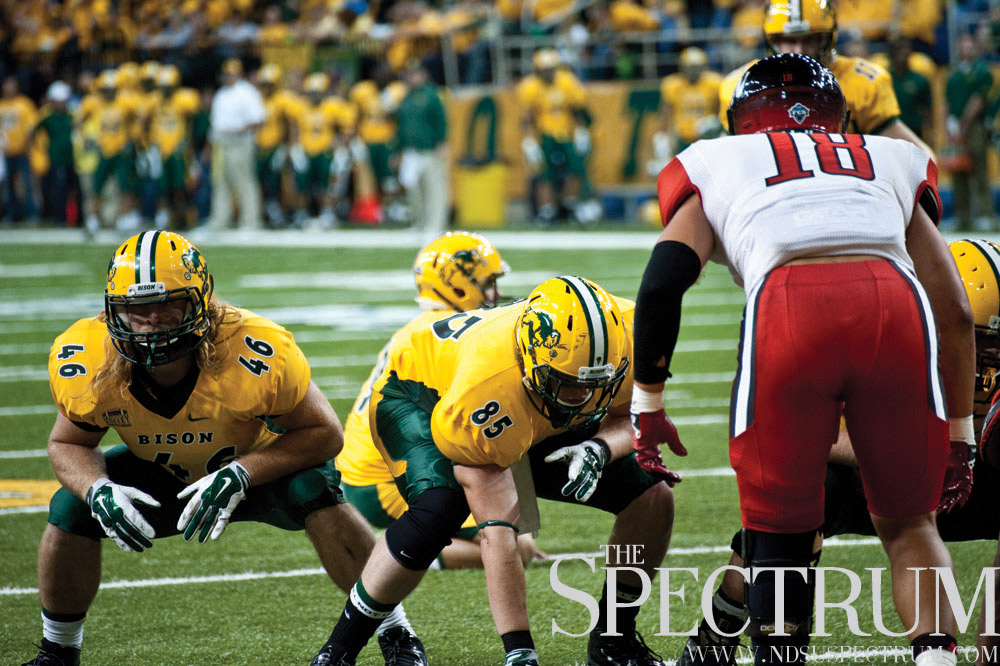 FILE PHOTO | THE SPECTRUM Kevin Vaadeland (85) leads North Dakota State in receptions. Vaadeland and Andrew Bonnet (46) take on Western Illinois at 2:30 p.m. Saturday at Hanson Field in Macomb, Ill.