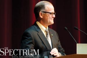 JOSEPH RAVITS | THE SPECTRUM President Dean Bresciani addresses the university Thursday morning at Festival Concert Hall.