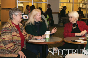 TIFFANY SWANSON | THE SPECTRUM Rep. Kathy Hogan (left), Mary Schneider (center) and Sen. Carolyn Nelson (right) discuss their platform and ties to North Dakota State Tuesday in the Memorial Union.