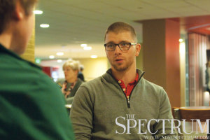 JOSEPH RAVITS | THE SPECTRUM North Dakota State senior Lucas Paper talks about his campaign and life Monday in the Memorial Union.