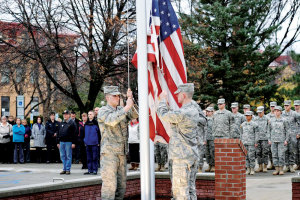 PHOTO COURTESY | UNIVERSITY RELATIONS North Dakota State recognizes its service people Thursday with a flag raising and ceremony.