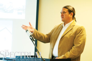 JOSEPH RAVITS | THE SPECTRUM Dr. Donald Warne speaks about the woes and hopes of the American Indian population Tuesday.