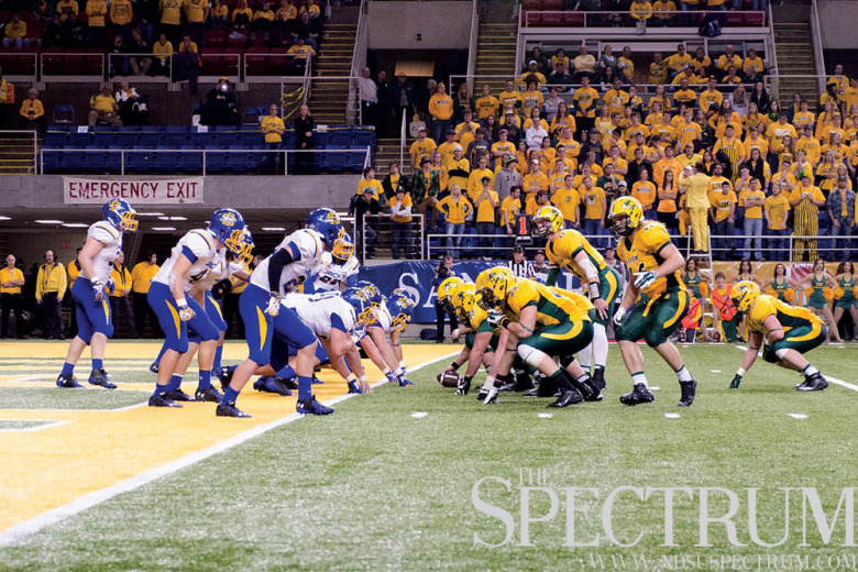 FILE PHOTO | THE SPECTRUM NDSU and SDSU meet once again in a second round FCS playoff game Saturday. The Bison have won six straight games against the Jackrabbits, including a 28-3 win in the 2012 playoffs.