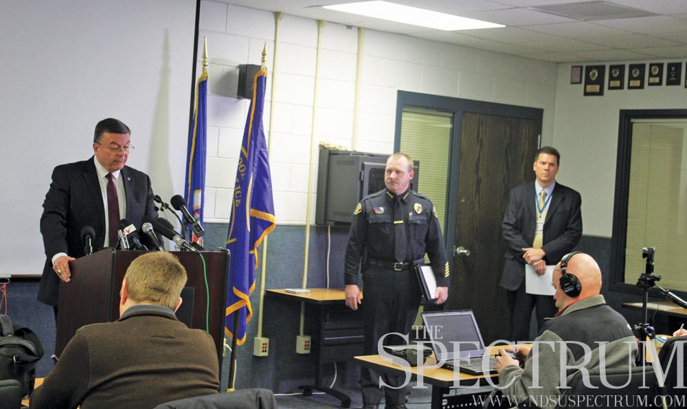 BENJAMIN NORMAN | THE SPECTRUM Chief David Ebinger (left) addresses the media Monday on the Thomas Bearson case. Fargo Police Chief David Todd (center) and Moorhead Police Lt. Brad Penas (right) spoke as well.