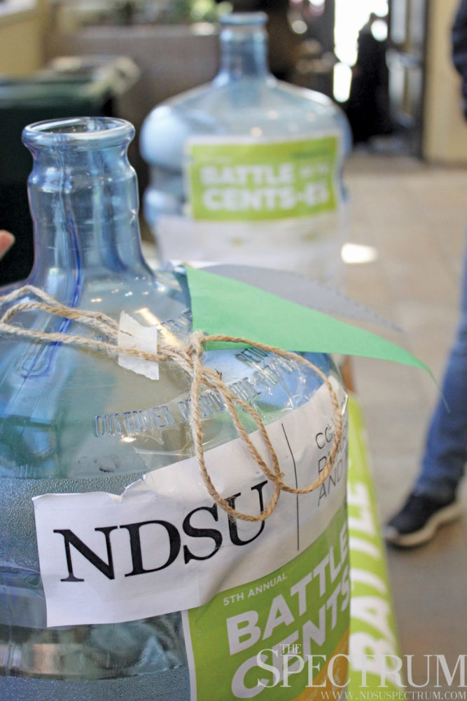 GABBY HARTZE | THE SPECTRUM Donations for this year's Battle of the Cents-es came from across the NDSU campus, from students and staff to President Dean Bresciani.