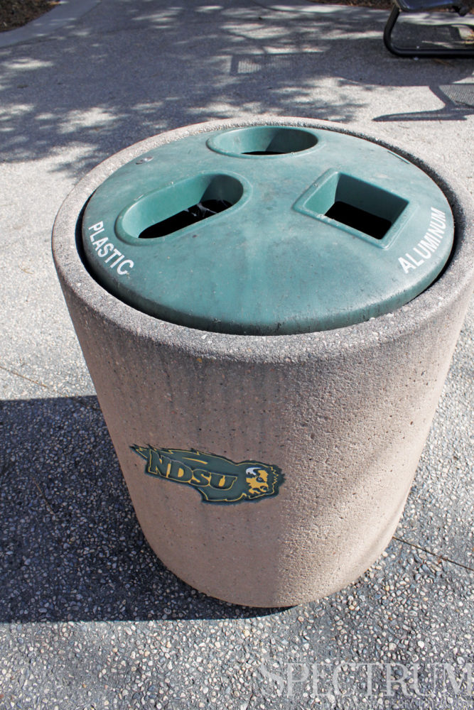 GABBY HARTZE   THE SPECTRUM This bin is among one of the few recycling receptacles around campus.