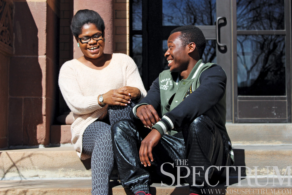 TESSA BECK | THE SPECTRUM (From right to left: Senior communications management major Peace Kpegeol and senior biology major Damilola Famati) The executive team for the African Students Union have dedicated months in preparation for Pan-Africa Night.