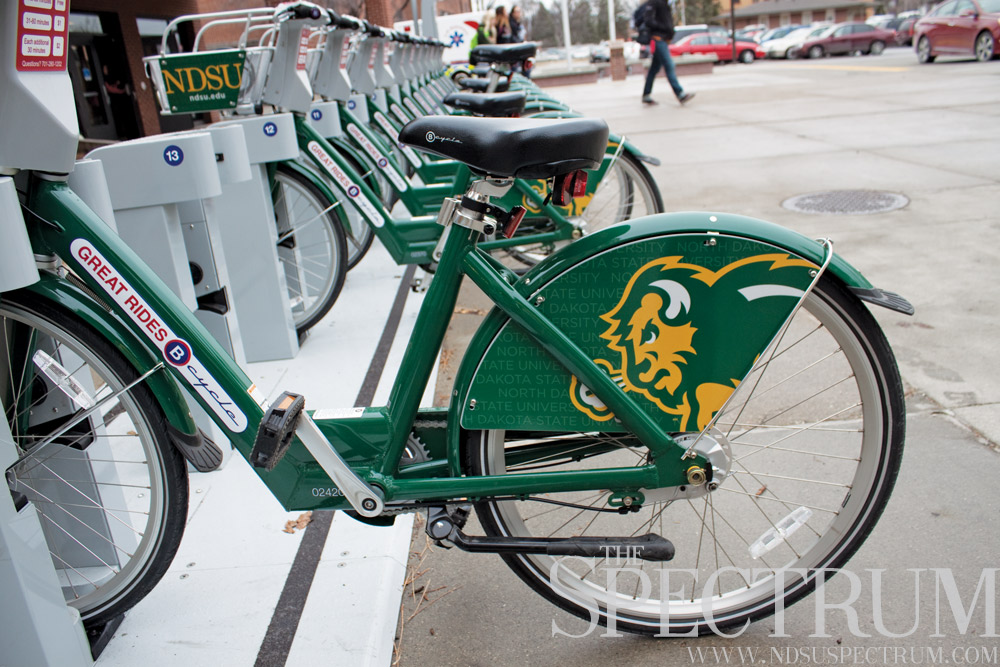 GABBY HARTZE | THE SPECTRUM NDSU's bike share launch has broken records with 3,000 students signed up.