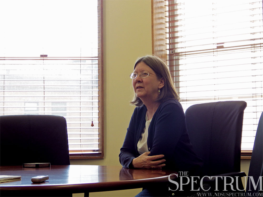JACK DURA | THE SPECTRUM Provost Beth Ingram discusses changes at NDSU and her first year on the job last Friday in her Old Main office.