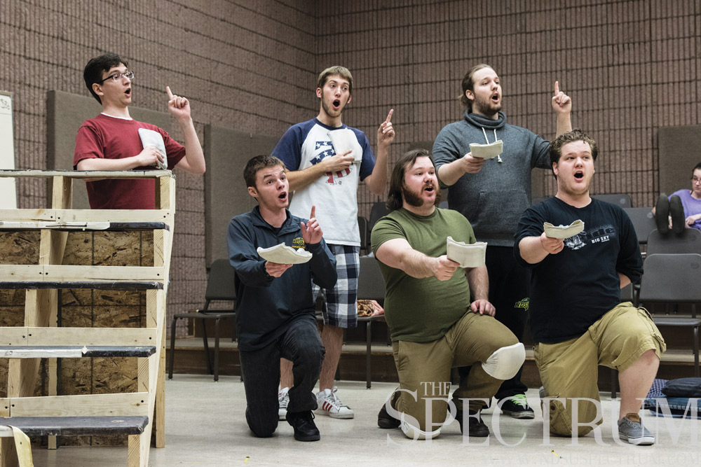 "KIMBERLY HILL | THE SPECTRUM NDSU Opera performers rehearse a scene from ""A Midsummer Night's Dream,"" a Shakespearean comic opera."