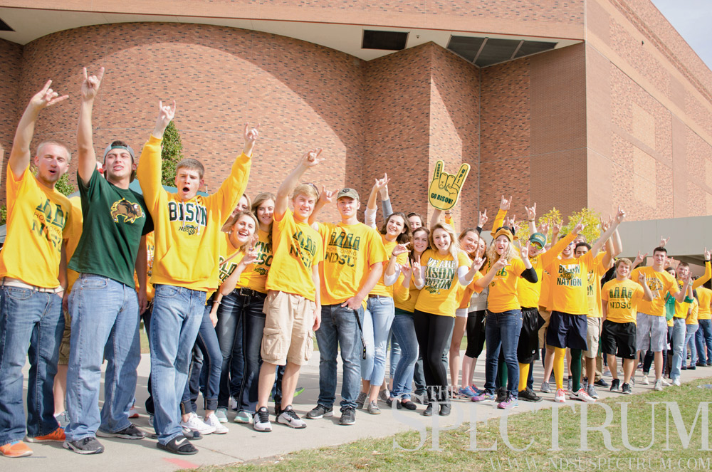 students with bison pride