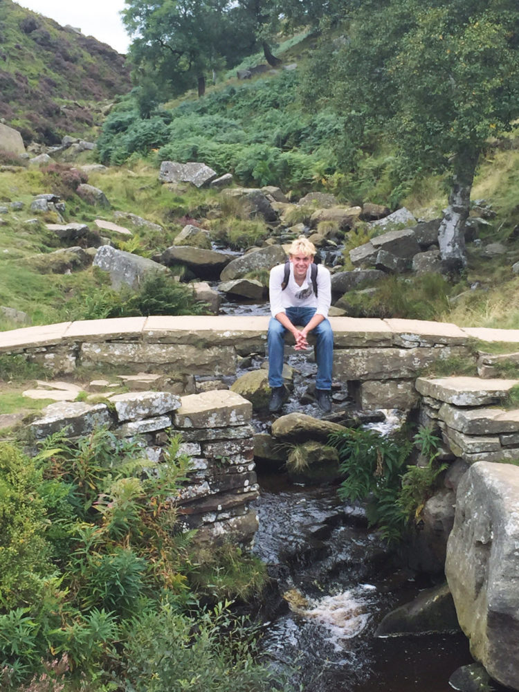 Bergh sitting on a bridge in Yorkshire