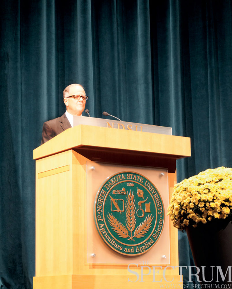 "GABBY HARTZE | THE SPECTRUM  NDSU President Dean Bresciani thanked his audience for being ""NDSU true"" in his Oct. 8 state of the university address."