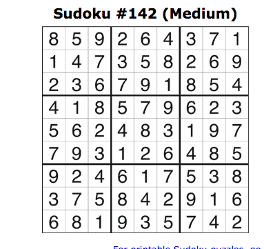 sudoku medium jan 25 answers