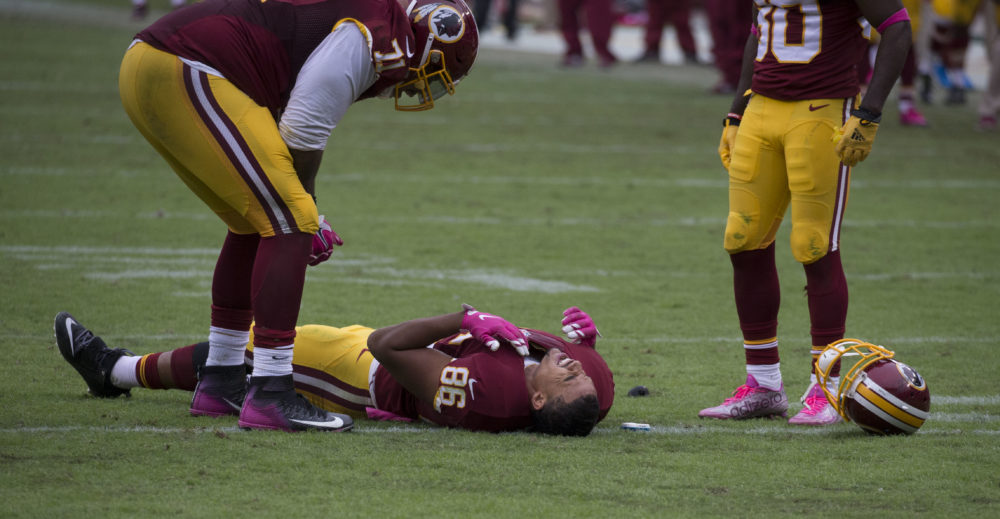 FLICKR | PHOTO COURTESY Washington Tight End Jordan Reed lays on the ground after an injury last fall.