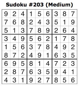 Sudoku 203 Answers