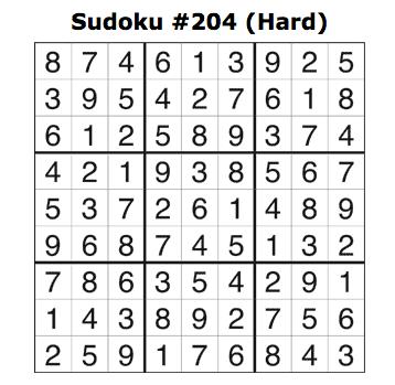 Sudoku 204 Answers