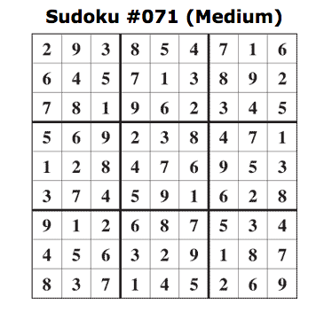 medium sudoku answers
