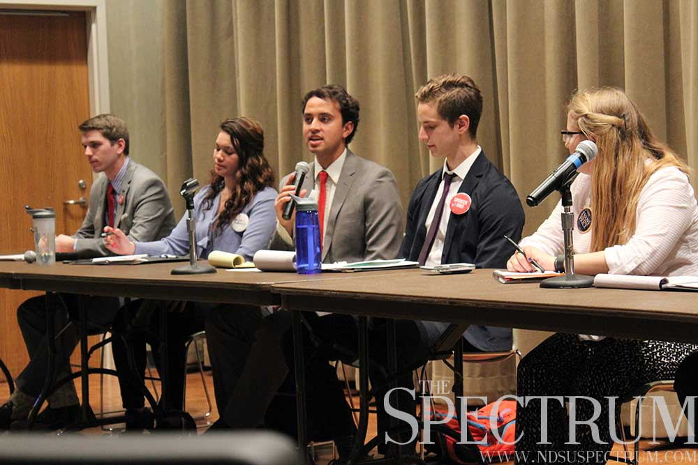 KELSEY DIRKS | THE SPECTRUM Presidential tickets participated in their final debate Monday, hosted by Bison Media.