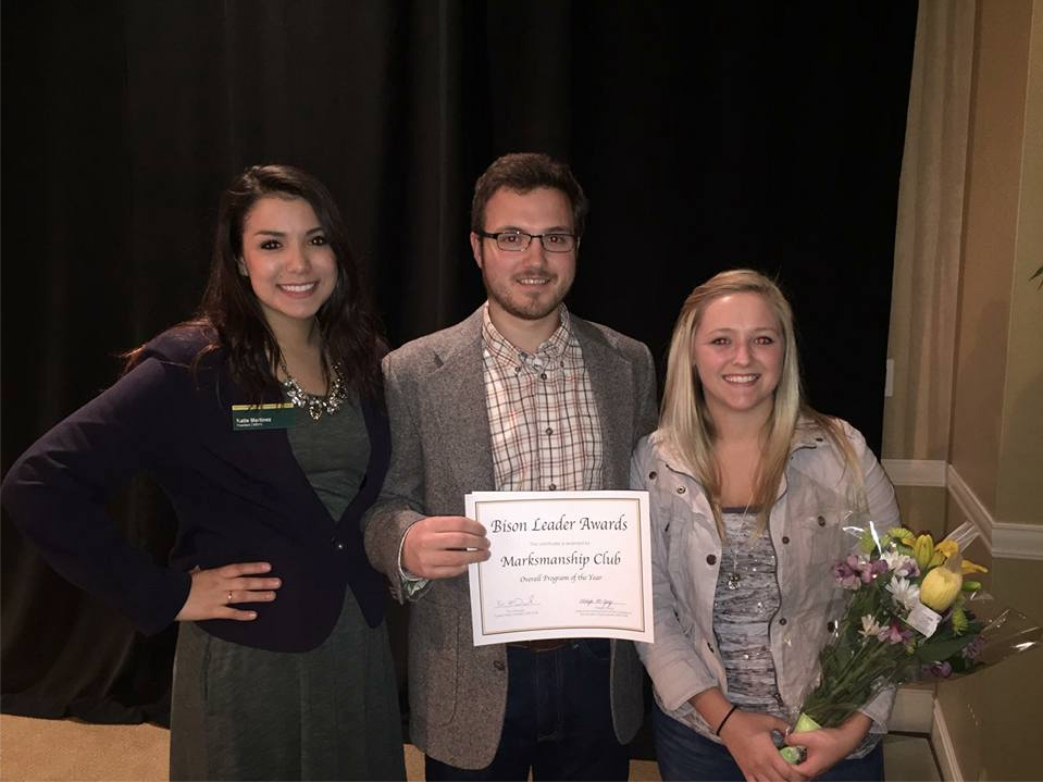 Marksmanship Club | Photo Courtesy Katie Martinez, Grant Johnson and Macy Nelson of the Marksmanship Club attended the Bison Leader Awards on April 19 when their club won Organization of the Year.