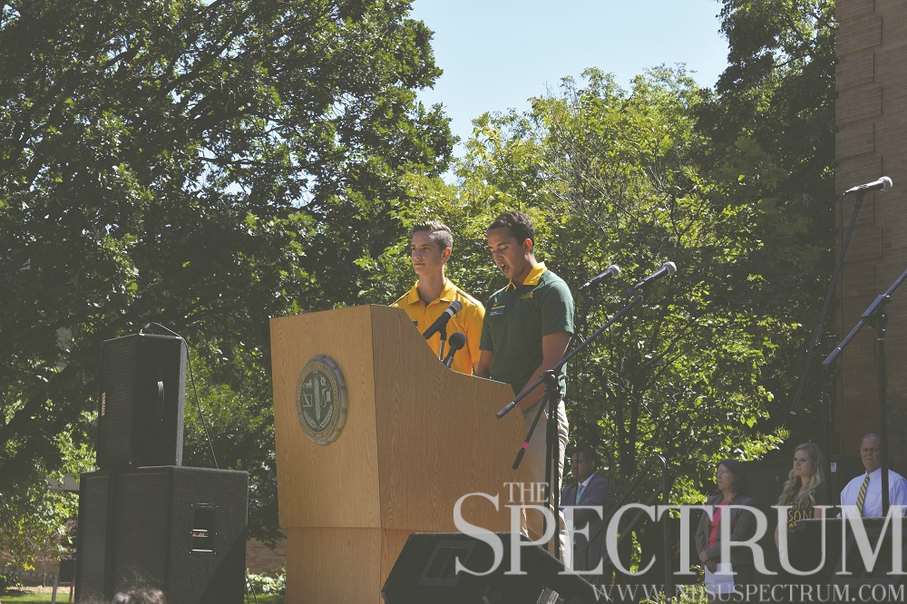 CASEY MCCARTY | THE SPECTRUM Spencer Moir (left) led the first SFAB meeting, which occured last week.