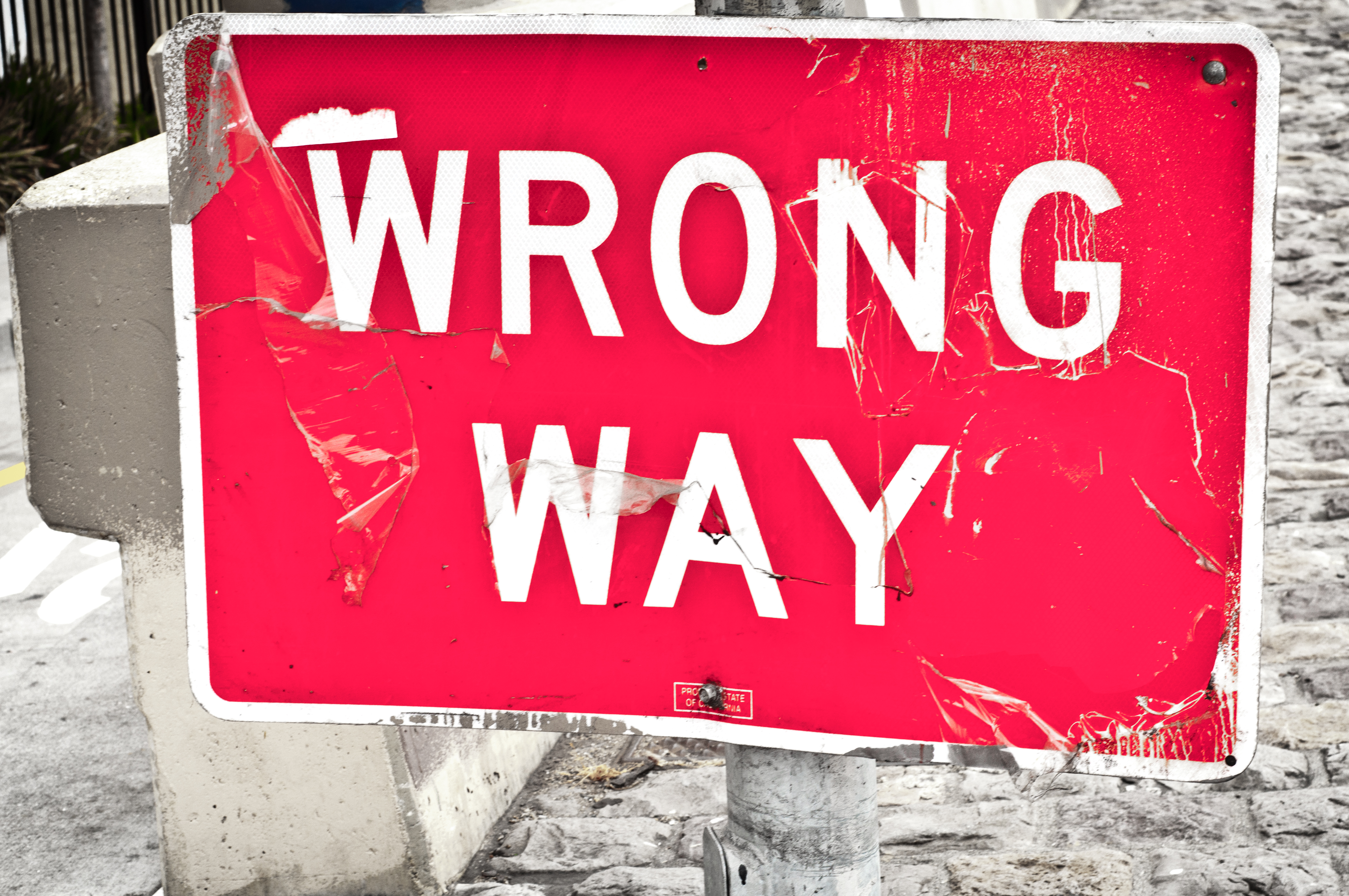 PHOTO COURTESY David Goering FLICKR.COM | A wrong way sign waiting to make me question life.