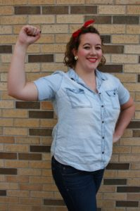 PHOTO COURTESY KEYONA ELKINS | Rosie the riveter is easy to emulate with a chambray shirt and red bandana.
