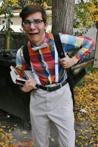 PHOTO COURTESY KEYONA ELKINS | Dress up like an old-school nerd with suspenders, glasses, a bowtie and a backpack.